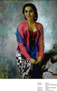 Wanita Berkebaya Pink - BAsuki Abdullah