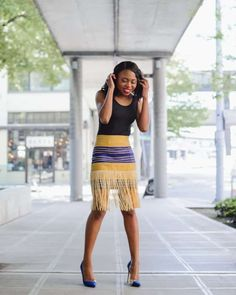 Aso oke traditional fringe skirt African Wear, African Dress, African Fashion, Ankara Fashion, Women's Fashion, Fringe Skirt, Lace Skirt, Cool Outfits, Summer Outfits
