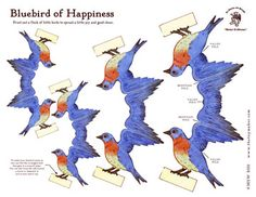 Bluebird of Happiness  printable paper toy  http://www.thetoymaker.com/Toypages/73Birds/73BluebirdsofHappiness.html#