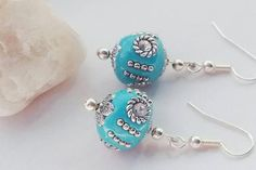 Aqua Bead Earrings Indonesian Bead Earrings Dangle Earrings