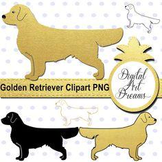 Dog Clipart Golden Retriever Clipart by DigitalArtDreams on Etsy