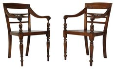 ALINE MATSIKA'S PICK - Pair of Dutch colonial hand carved wooden arm chairs - $500.