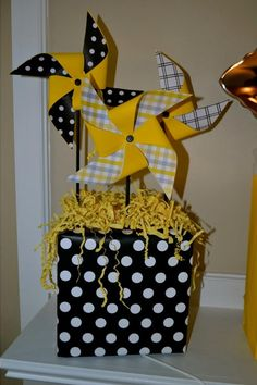 diy baby shower decor in black and yellow and gray.