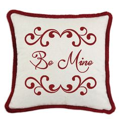 Show your love with this textile Valentine - Tastefully presented on a linen cloth blend pillow trimmed with red brush fringe. See more Valentine pillows at spicehomedecor.com