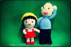 手鉤毛冷小丸子&爺爺 by Fish Finger Craft, via Flickr