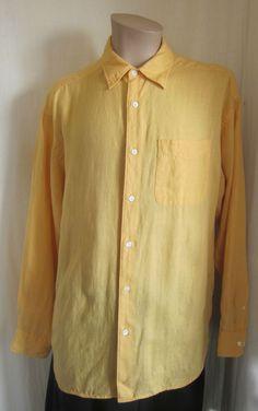 BANANA REPUBLIC Men's Mustard 100% IRISH LINEN Button Front Shirt L Large #BananaRepublic #ButtonFront
