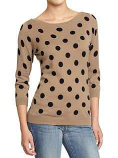Polka Dot Boat Neck Sweater