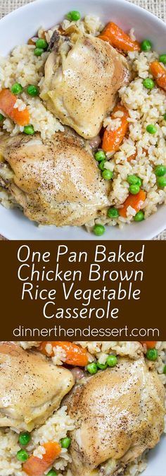 One Pan Baked Chicken Brown Rice Vegetable Casserole, served with Carrots and Peas, is healthy, flavorful and involves almost no clean-up! (Mix Vegetables Casserole)