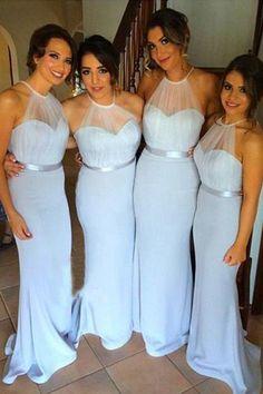 Sweep Train Chiffon Tulle Bridesmaid Dress - Sky Blue Sheath Halter