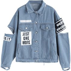 Patch Letter Shirt Full Wide-waisted Fashion Jackets Letter Patched Cut Out Ripped Denim Jacket Denim Fashion, Fashion Outfits, Curvy Fashion, Street Fashion, Trendy Fashion, Fall Fashion, Fashion Trends, Denim Jacket Patches, Patch Jeans
