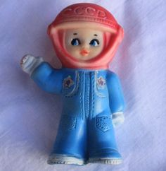 Vintage-rubber-toy-doll-Astronaut-child-boy-Space-Kosmos-USSR-Russia