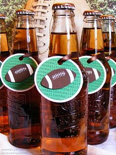 15 Super Bowl Party Ideas - Super Bowl Football Tags for Beverages
