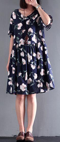 2017 blue print summer dresses flatering cotton dress short sleeve sundress