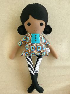 Fabric Doll Rag Doll Black Haired Girl in Blue and by rovingovine, $35.00