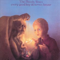 """The Moody Blues – Every Good Boy Deserves Favour (1971): AllMusic says The Moody Blues were: """"Pop mystics of the 1960s and '70s, whose impeccably produced albums exuded pseudo-classical glory, driven by lush Mellotron orchestrations."""" I like some of their work very much, but I am not enamored by this album, although it did reach number two on the Billboard 200 chart. Favorite tracks: The Story In Your Eyes*Nice to Be Here. I listened to this album on vinyl today, 10/8/2015. Rating: 81%."""
