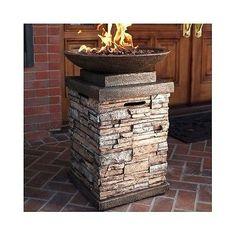 Gas Fire Pits Outdoor Patio Firepit Stone Propane Firebowl Heater Deck Yard LP