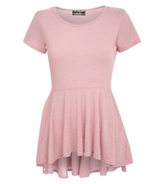 Emmie High Low Cap Sleeve Peplum Top in Pink   world.pilotfashion.com