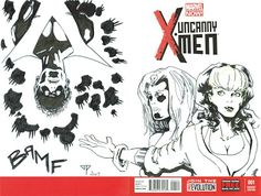 X-Men Blank Cover - Nightcrawler, Rogue & Mystic by Guillomcool