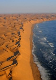 Namibia coastline ~ wind continuously reshapes the patterns of the huge dunes of the Namib desert.