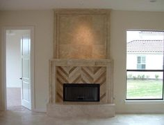 floor tile extending to raised hearth Custom Fireplace, Fireplace Mantles, Stone Fireplaces, Family Room Fireplace, Stone Flooring, Floor Design, Travertine, Woodworking Crafts, Hearth