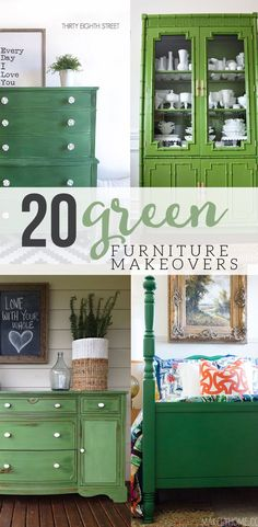 Would you like to add a pop of the color green in your home? Check out 20 Green Painted Furniture Makeovers, including paint colors, and get inspired! #green #paintedfurniture