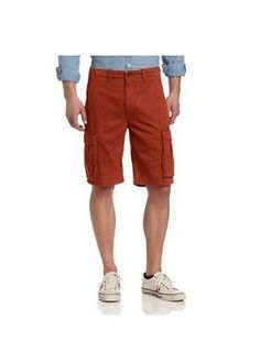 LEVI'S MEN'S REGULAR RELAXED FIT ACE CARGO SHORTS 0007 BRICK RED