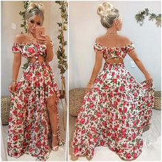 Wowww!! Que DESLUMBRE!! Coisa mais LINDA da vida esse conjunto e essa estampa 😱❤️ Cropped ciganinha + saia longa com babados e forrinho hot… Dress Outfits, Casual Dresses, Cute Outfits, Prom Dresses, Fashion Outfits, Quirky Fashion, Fashion Looks, Cute Summer Dresses, Summer Outfits