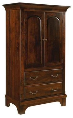 Amish Aspen Armoire with Two Drawers and Two Doors Solid wood storage that's customizable. Build the armoire of your dreams. The Aspen is Amish made in choice of wood, stain and hardware. #armoire #bedroom #bedroomstorage