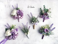 Fake Flowers, Artificial Flowers, Silk Flowers, Purple Boutonniere, Boutonnieres, Rustic Boutonniere, Mauve, Lilac, Purple Rose