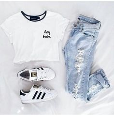 Image about fashion in Moda - outfits👚 by carmen🦊 Cute Teen Outfits, Teenage Girl Outfits, Cute Summer Outfits, Outfits For Teens, Trendy Outfits, Tween Fashion, Tomboy Fashion, Teen Fashion Outfits, Adidas Fashion