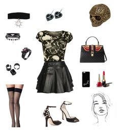 """Skulls"" by rboowybe ❤ liked on Polyvore featuring WearAll, Mairi Mcdonald, BCBGMAXAZRIA, Commando, Gucci, Witch Worldwide and WALL"