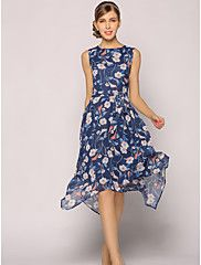 b3000b14ef1 Women s Floral Plus Size Daily   Going out   Work Sophisticated Swing Dress  - Floral Summer Blue XL XXL XXXL