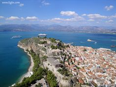 Two cruise ships anchored off the port of #Nafplio in the #Peloponnese. View from #Palamidi Castle.