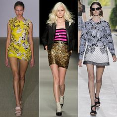 Thigh-High: As far as the Paris runways are concerned, the thigh's the limit. Barely-there hemlines ruled the catwalk; so whether you're looking for a cocktail dress, a party dress, a day dress, or an everyday skirt, be prepared to show some leg.