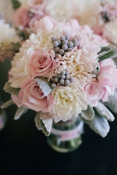 Dahlia, Rose, Tulip and Brunia Berry Bridal Bouquet