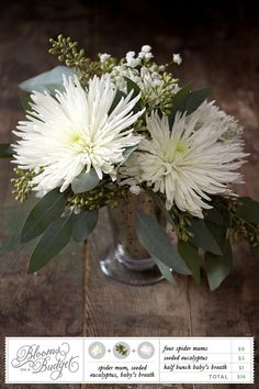 Blooms on a Budget Spider Mums, Baby's Breath, Seeded Eucalyptus Garden Diy On A Budget, Wedding Planning On A Budget, Wedding Decorations On A Budget, Budget Wedding, Wedding Table, Wedding Ideas, Wedding Blog, Green Centerpieces, Wedding Centerpieces