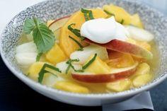 Schnelle Desserts: Gelbe Grütze mit Mango und Honigmelone