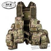 Gilet RSA operation-camo  - marque : MFH Gilet RSA operation-camo. Gilet polyvalent avec 13 poches (6 emplacements pour chargeurs de 5.56, 3 poches multiple-usages, 2 petites poches à grenades et une musette dorsale en 2... prix : 29.99 €  chez ASCM #MFH #ASCM