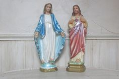 Vintage Catholic Statue Jesus and Mary