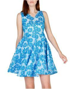 New Laviva Abbondanza Women Blue Dresses Yellow Dress, Blue Dresses, Summer Dresses, Casual Dresses For Women, Clothes For Women, Crystal Dress, Fit N Flare Dress, Ruffle Dress, New Dress