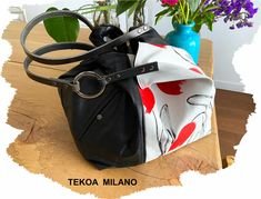 TEKOA 731 borsa in jeans dipinti e pelle recuperata Bucket Bag, Take That, Tote Bag, Milano, Bag, Pouch Bag, Totes, Tote Bags