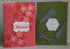 Kreativ-Stanz Petite Petals Hammer Custom Tee Stempelset und Framelits von Stampin' Up! Geschenktüten mit Stanz- und Falzbrett Muttertag Vatertag Blumen Werkzeug #stampinup #muttertag http://kreativstanz.bastelblogs.de/