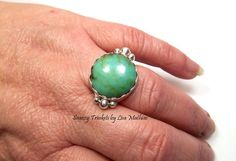 Green Chrysoprase Ring Size 6.5 Apple Green by SnazzyTrinkets