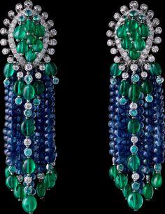 The Cartier Étourdissant collection: Earrings - platinum, sapphire beads, long emerald beads, Paraiba tourmalines, brilliant-cut diamonds.