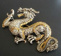 Signe Vintage Sterling Silver 925 Brooch Pin Dragon Figural Marcasite Asian 1003 | eBay
