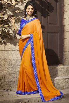 #DivyankaTripathi Orange Plain Geogette With Blue #Bandhani Fancy Border Saree