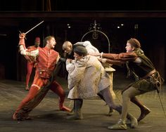 """(L-R) Anthony von Halle as """"Tybalt,"""" Owiso Odera as """"Mercutio,"""" Graham Hamilton as """"Romeo"""" and Michael Kirby as """"Benvolio"""" in The Old Globe's Summer Shakespeare Festival production of Romeo and Juliet, by William Shakespeare, directed by Rick Seer, playing in the Lowell Davies Festival Theatre June 14 – September 28; photo by Craig Schwartz"""