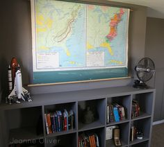 Teen Boy Bedroom Makeover {before and after}   Jeanne Oliver great map