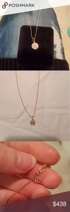 """💯Authentic Sydney Evan Mini Disc Necklace 🆕️ Never worn.14k rose-gold mini disc charm with pavé diamonds. 16 in. Chain. Charm measures approximately 1/3"""" x 1/3"""". Looks beautiful on its on or layered with other necklaces Sydney Evan Jewelry Necklaces"""