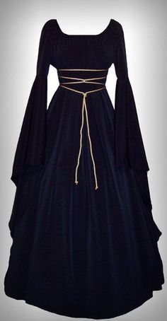 May 2020 - Holiday Sale - Medieval/Renaissance Black Satin Trumpet Sleeve Costume Gown, Custom made to order. Renaissance Costume, Renaissance Clothing, Medieval Fashion, Diy Medieval Costume, Renaissance Wedding, Long Sleeve Maxi, Maxi Dress With Sleeves, Dress Up, Maxi Dresses